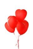 Κόκκινα μπαλόνια καρδιών που απομονώνονται σε ένα λευκό Στοκ Φωτογραφίες