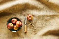Κόκκινα οργανικά μήλα στο κύπελλο με το μαχαίρι στο ύφασμα στοκ εικόνα με δικαίωμα ελεύθερης χρήσης