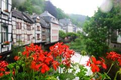 Κόκκινα λουλούδια γερανιών και ιστορικά κτήρια ύφους tudor σε Monschau Στοκ Εικόνα