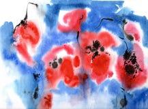 Κόκκινα λουλούδια Watercolor Στοκ Εικόνα