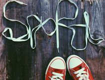κόκκινα πάνινα παπούτσια Στοκ φωτογραφίες με δικαίωμα ελεύθερης χρήσης