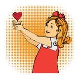 Κόκκινα παιδιά κοριτσιών καρδιών αγάπης στοκ εικόνες