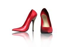 Κόκκινα παπούτσια γυναικών Στοκ Εικόνες