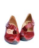 Κόκκινα παπούτσια δέρματος γυναικών Στοκ εικόνα με δικαίωμα ελεύθερης χρήσης