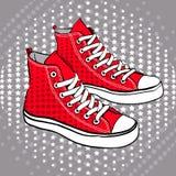Κόκκινα παπούτσια που διακοσμούνται αθλητικά με τα αστέρια διανυσματική απεικόνιση