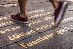 Κόκκινα παπούτσια σε ένα κείμενο Στοκ εικόνες με δικαίωμα ελεύθερης χρήσης