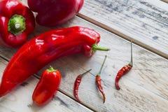 Κόκκινα πιπέρια και chilis Στοκ φωτογραφία με δικαίωμα ελεύθερης χρήσης