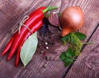 Κόκκινα πιπέρι και καρυκεύματα τσίλι Στοκ Φωτογραφία