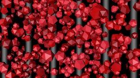 Κόκκινα πολύγωνα που ανυψώνουν κατά μήκος των γκρίζων ράβδων ελεύθερη απεικόνιση δικαιώματος