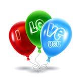 Κόκκινα, πράσινα και μπλε μπαλόνια Στοκ Εικόνα