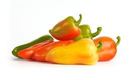 Κόκκινα, πράσινα, πορτοκαλιά και κίτρινα πιπέρια κουδουνιών Στοκ Εικόνα