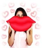 Κόκκινα προκλητικά χείλια στοκ φωτογραφία με δικαίωμα ελεύθερης χρήσης