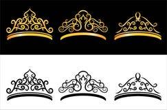 κόκκινα ρουμπίνια μαργαριταριών κορωνών χρυσά Στοκ Εικόνες