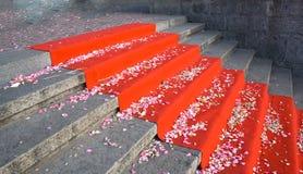 κόκκινα σκαλοπάτια ταπήτ&omega Στοκ φωτογραφία με δικαίωμα ελεύθερης χρήσης
