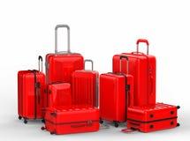Κόκκινα σκληρά luggages περίπτωσης στο άσπρο υπόβαθρο απεικόνιση αποθεμάτων