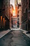 Κόκκινα τούβλα που χτίζουν στην οδό πόλεων της Νέας Υόρκης στο χρόνο ηλιοβασιλέματος Στοκ εικόνες με δικαίωμα ελεύθερης χρήσης
