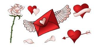 Κόκκινα τριαντάφυλλα, καρδιές και άλλο συρμένο χέρι χρωματισμένο σύνολο στοιχείων απεικόνιση αποθεμάτων