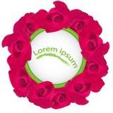Κόκκινα τριαντάφυλλα με μορφή ενός σχεδίου κύκλων για μια ευχετήρια κάρτα Στοκ Φωτογραφίες