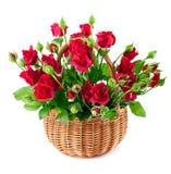 Κόκκινα τριαντάφυλλα ανθοδεσμών στο καλάθι Στοκ Εικόνες