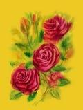 Κόκκινα τριαντάφυλλα - ζωγραφική watercolor στο κίτρινο υπόβαθρο Στοκ Εικόνες