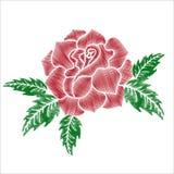 Κόκκινα τριαντάφυλλα με την πράσινη κεντητική φύλλων στο άσπρο υπόβαθρο Στοκ εικόνα με δικαίωμα ελεύθερης χρήσης