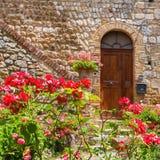 Κόκκινα τριαντάφυλλα μπροστά από ένα παλαιό σπίτι στο SAN Gimignano Στοκ φωτογραφία με δικαίωμα ελεύθερης χρήσης