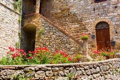 Κόκκινα τριαντάφυλλα μπροστά από ένα παλαιό σπίτι στο SAN Gimignano Στοκ εικόνες με δικαίωμα ελεύθερης χρήσης