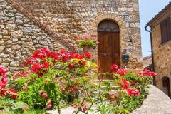 Κόκκινα τριαντάφυλλα μπροστά από ένα παλαιό σπίτι στο SAN Gimignano Στοκ Φωτογραφία