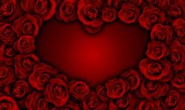 Κόκκινα τριαντάφυλλα που κάνουν τη μορφή καρδιών Στοκ φωτογραφίες με δικαίωμα ελεύθερης χρήσης