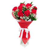 Κόκκινα τριαντάφυλλα σε ένα βάζο γυαλιού Στοκ εικόνα με δικαίωμα ελεύθερης χρήσης