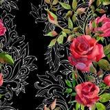 Κόκκινα τριαντάφυλλα στην μπαρόκ διακόσμηση πρότυπο άνευ ραφής Στοκ φωτογραφία με δικαίωμα ελεύθερης χρήσης