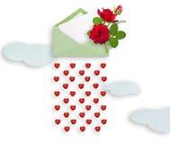 Κόκκινα τριαντάφυλλα στο φύλλο φακέλων και εγγράφου για το κείμενο το κόκκινο ανθοδεσμών αυξήθηκε άνδρας αγάπης φιλιών έννοιας στ Στοκ Φωτογραφία