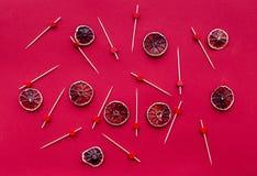 Κόκκινα τρόφιμα που τίθενται με το γκρέιπφρουτ για το τοπ σχέδιο άποψης επιλογών εστιατορίων Στοκ εικόνες με δικαίωμα ελεύθερης χρήσης