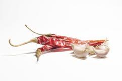 Κόκκινα τσίλι και σκόρδο Στοκ Εικόνα