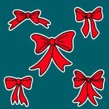 Κόκκινα τόξα δώρων Doodle για τα Χριστούγεννα ή τα γενέθλια Στοκ Φωτογραφίες