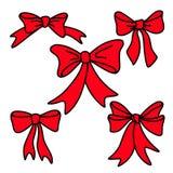 Κόκκινα τόξα δώρων Doodle για τα Χριστούγεννα ή τα γενέθλια Στοκ Εικόνα