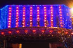Κόκκινα φανάρια στο πολιτιστικό τετράγωνο στοκ φωτογραφία