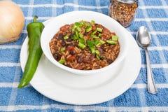 Κόκκινα φασόλια και ρύζι με το πιπέρι Poblano Στοκ εικόνες με δικαίωμα ελεύθερης χρήσης