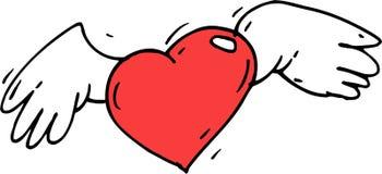 Κόκκινα φτερά καρδιών Στοκ εικόνες με δικαίωμα ελεύθερης χρήσης