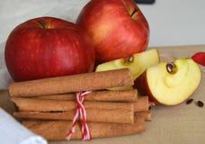 Κόκκινα χαριτωμένα μήλα και ραβδιά κανέλας τρόφιμα υγιή Στοκ Φωτογραφία