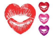 Κόκκινα χείλια καρδιών, διανυσματικό σύνολο Στοκ Φωτογραφίες