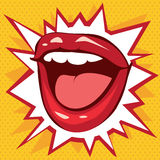 Κόκκινα χείλια χαμόγελου σε ένα υπόβαθρο των αστεριών Στοκ Εικόνες