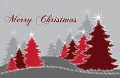 Κόκκινα χριστουγεννιάτικα δέντρα Στοκ Εικόνα