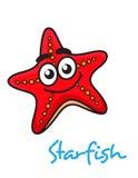 Κόκκινα ψάρια αστεριών κινούμενων σχεδίων με το ευτυχές πρόσωπο Στοκ Φωτογραφίες