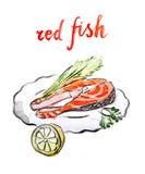 Κόκκινα ψάρια Watercolor ελεύθερη απεικόνιση δικαιώματος