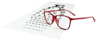 Κόκκινα eyeglasses στο οπτικό διάγραμμα δοκιμής που απομονώνεται στο λευκό όραση Στοκ εικόνα με δικαίωμα ελεύθερης χρήσης