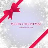 κόκκινα snowflakes Χριστουγέννων καρτών τόξων ελεύθερη απεικόνιση δικαιώματος