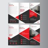 Κόκκινα temp εκθέσεων ιπτάμενων φυλλάδιων επιχειρησιακών trifold φυλλάδιων τριγώνων διανυσματική απεικόνιση