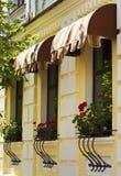 κόκκινα windowsills λουλουδιών στοκ φωτογραφίες
