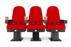 Κόκκινες άνετες έδρες κινηματογράφων κινηματογράφων με Popcorn και τα τρισδιάστατα γυαλιά απεικόνιση αποθεμάτων